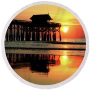 Hot Sunrise Over Cocoa Beach Pier  Round Beach Towel