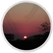Hot Tropical Sunset Round Beach Towel
