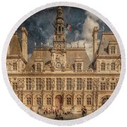 Round Beach Towel featuring the photograph Paris, France - Hotel De Ville by Mark Forte