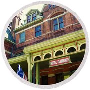 Hotel Florence Pullman National Monument Round Beach Towel by Kyle Hanson