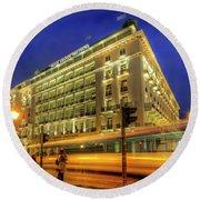 Hotel Grande Bretagne - Athens Round Beach Towel by Yhun Suarez