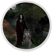 Hour Of The Wolf Round Beach Towel