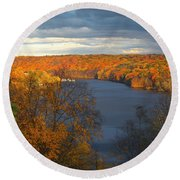 Round Beach Towel featuring the photograph Housatonic In Autumn by Karol Livote