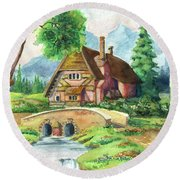 House Along The River Round Beach Towel