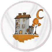 House And Moon Round Beach Towel