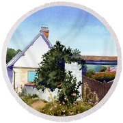 House At Giverny Round Beach Towel