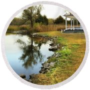House By The Edge Of The Lake Round Beach Towel by Jill Battaglia