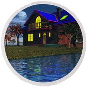 House By The River  Round Beach Towel by Mark Blauhoefer