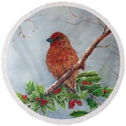 House Finch In Winter Round Beach Towel