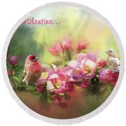 House Finch Valentine Round Beach Towel