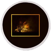 House Fire Round Beach Towel