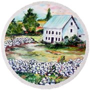 Round Beach Towel featuring the painting House In Bosnia H Kalinovik by Roberto Gagliardi