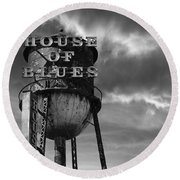 Round Beach Towel featuring the photograph House Of Blues B/w by Laura Fasulo