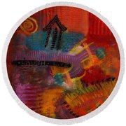 House Of Laughter Round Beach Towel by Angela L Walker