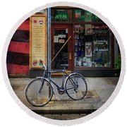 Round Beach Towel featuring the photograph House Of Names Bicycle by Craig J Satterlee