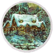 House Of Solace Round Beach Towel