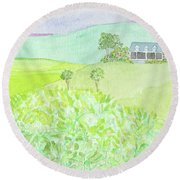 House On A Hill Round Beach Towel
