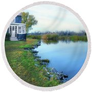 Round Beach Towel featuring the photograph House On A Lake by Jill Battaglia