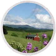 House On Hill In Lexington Round Beach Towel by Emanuel Tanjala