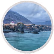 House On Ocean Cliff In Iceland Round Beach Towel