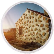 Round Beach Towel featuring the photograph House On The Cliff by Carlos Caetano
