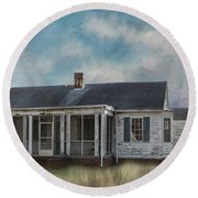 Round Beach Towel featuring the photograph House On The Hill by Kim Hojnacki