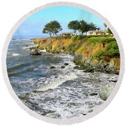 Round Beach Towel featuring the photograph House On The Point Cayucos California by Barbara Snyder