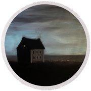 Round Beach Towel featuring the painting House On The Praerie by Tone Aanderaa