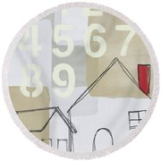 House Plans 3- Art By Linda Woods Round Beach Towel