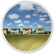 Round Beach Towel featuring the photograph House To House To Urbino by Jennie Breeze
