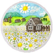 House With Camomiles, Painting Round Beach Towel