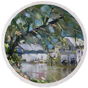 Houses Along The Canal Round Beach Towel
