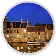 Round Beach Towel featuring the photograph Houses By A Canal - Bruges, Belgium by Barry O Carroll