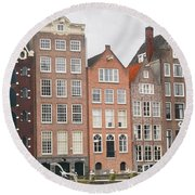 Houses Of Amsterdam Round Beach Towel by Therese Alcorn