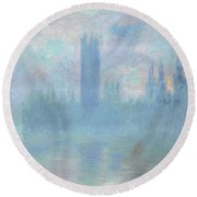 Houses Of Parliament  London Round Beach Towel