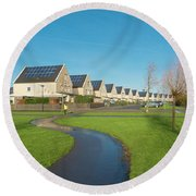 Houses With Solar Panels Round Beach Towel