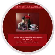 Round Beach Towel featuring the mixed media Housewarming Card by Mary Ellen Frazee