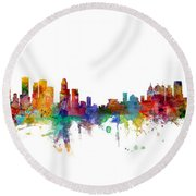 Houston Detroit Skylines Mashup Round Beach Towel