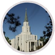 Houston Lds Temple Round Beach Towel