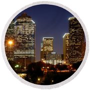 Houston Skyline At Night Round Beach Towel