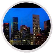 #houston #skyline At #night. #lights Round Beach Towel