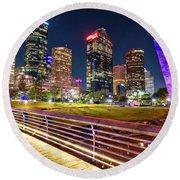 Houston Skyline From Buffalo Bayou Pedestrian Bridge Round Beach Towel