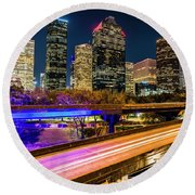 Houston Skyline From I-45 Round Beach Towel by Andy Crawford