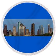Houston Skyline Panorama Round Beach Towel by Jonathan Davison