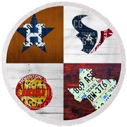 Houston Sports Fan Recycled Vintage Texas License Plate Art Astros Texans Rockets And State Map Round Beach Towel