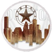 Round Beach Towel featuring the painting Houston Texas Skyline by Doug Kreuger