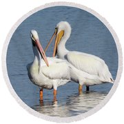How About A Date Gorgeous? Round Beach Towel by Rosalie Scanlon