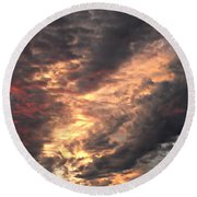 How About Them Clouds Round Beach Towel