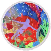 Round Beach Towel featuring the painting How To Survive The Space-time Continuum by Denise Weaver Ross
