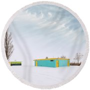 Round Beach Towel featuring the photograph How To Wear Bright Colors In The Winter by John Poon